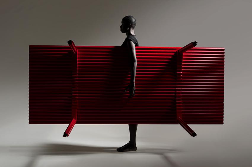 Ripple corrugated plywood table, by Benjamin Hubert