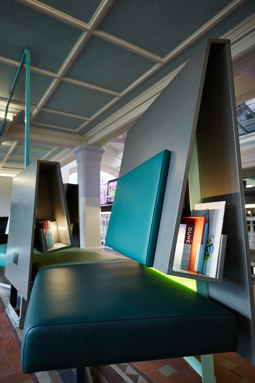 The Study Manchester Museum BKD seating with integral bookcase