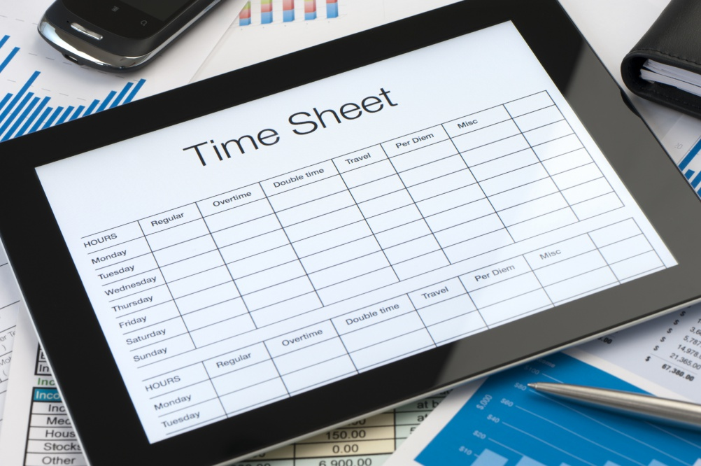 Online timesheet form on a digital tablet