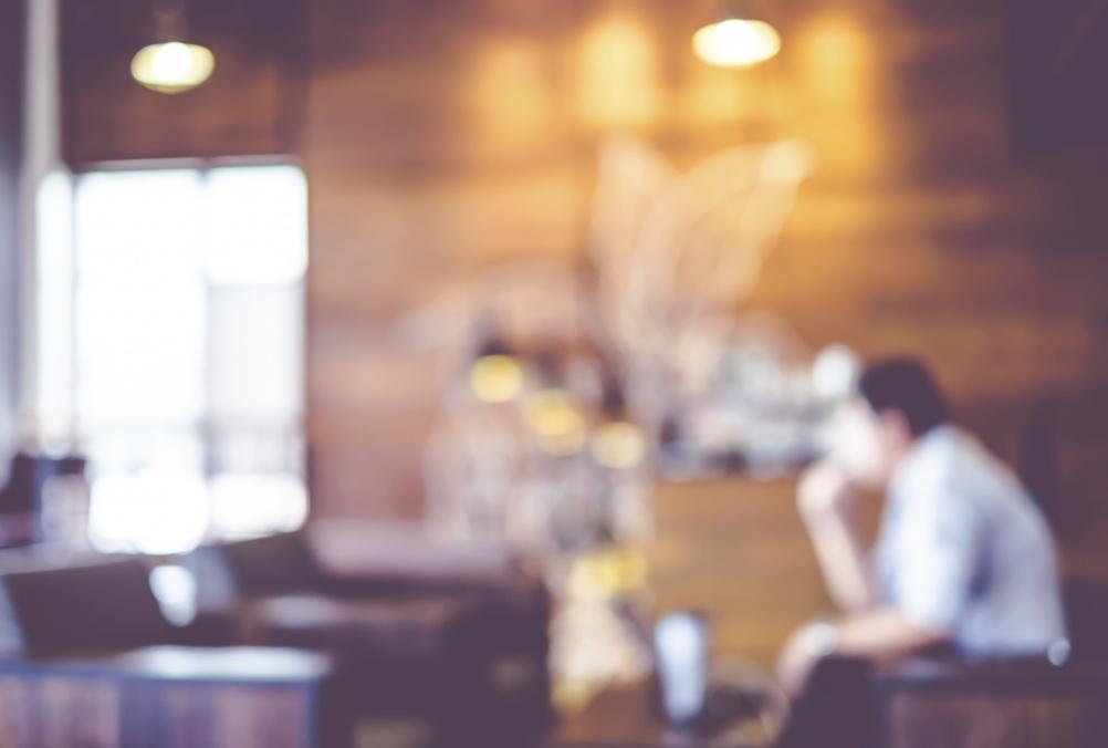Blurred background : Vintage filter Customer in Coffee shop blur