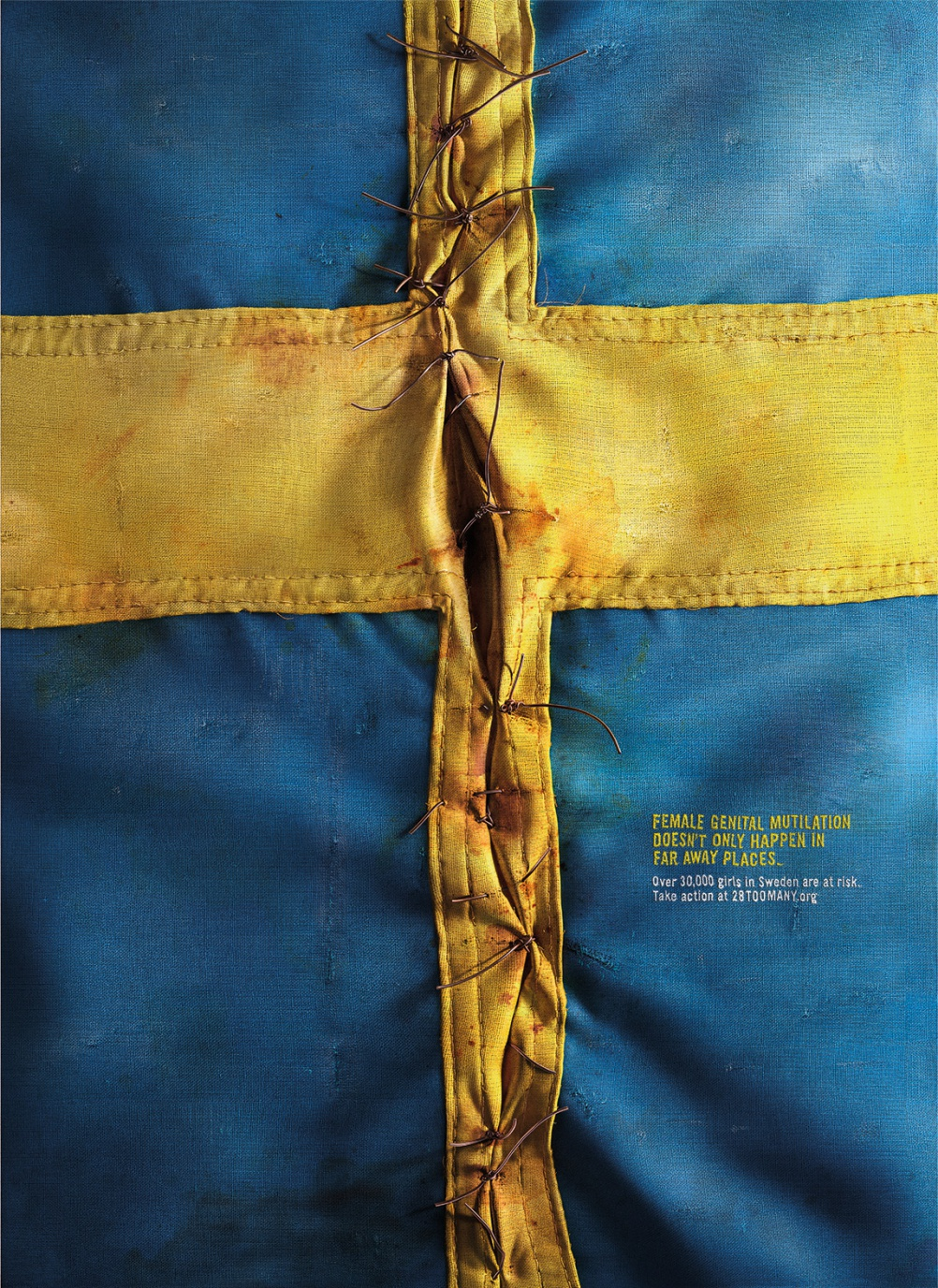 Ogilvy & Mather won Gold for its FGM Awareness poster for 28 Too Many Sweden