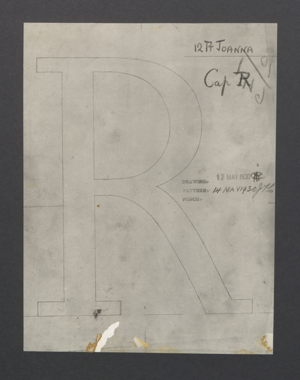 One of the Caslon Foundry drawings for the first cutting of Joanna