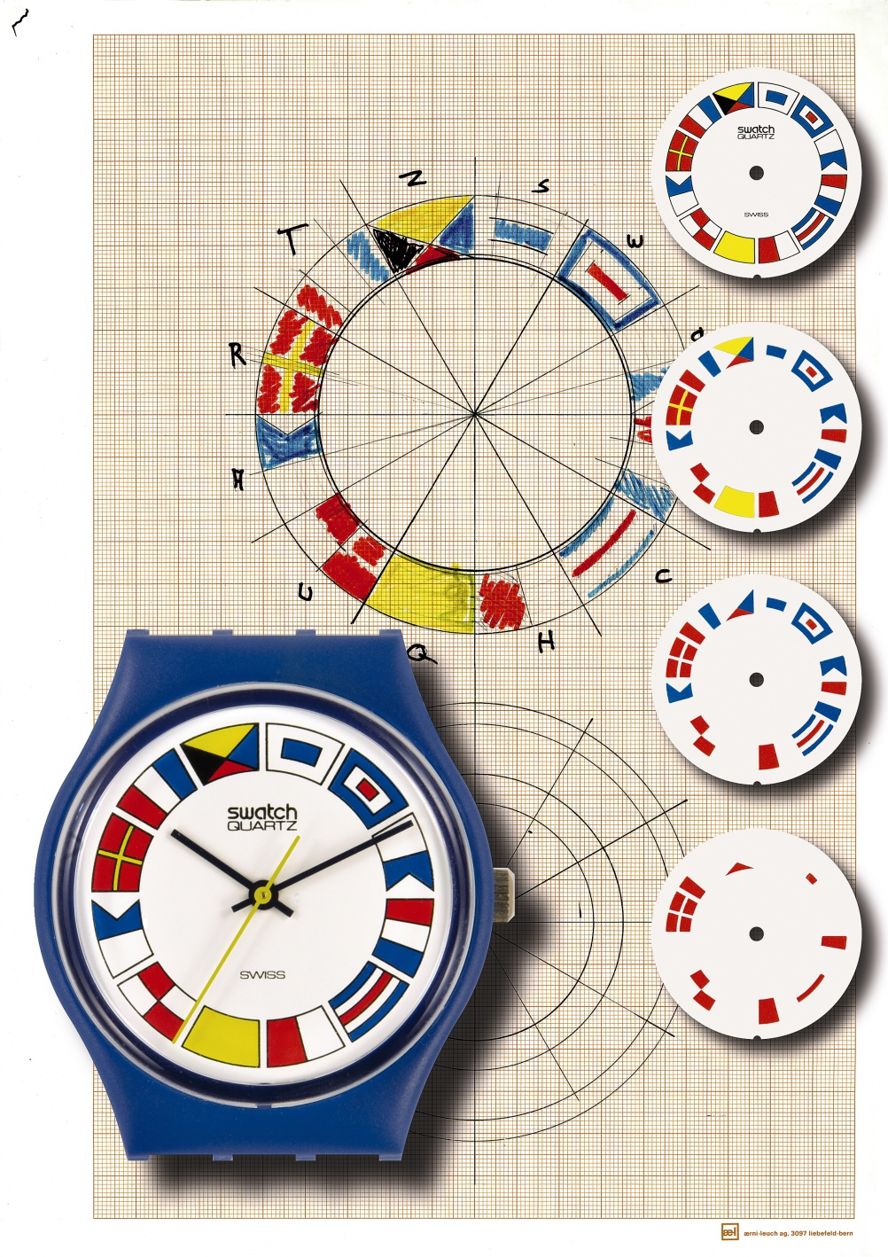 The 12 Flags watch launched in the 1984 Spring/Summer collection and was inspired by nautical flags
