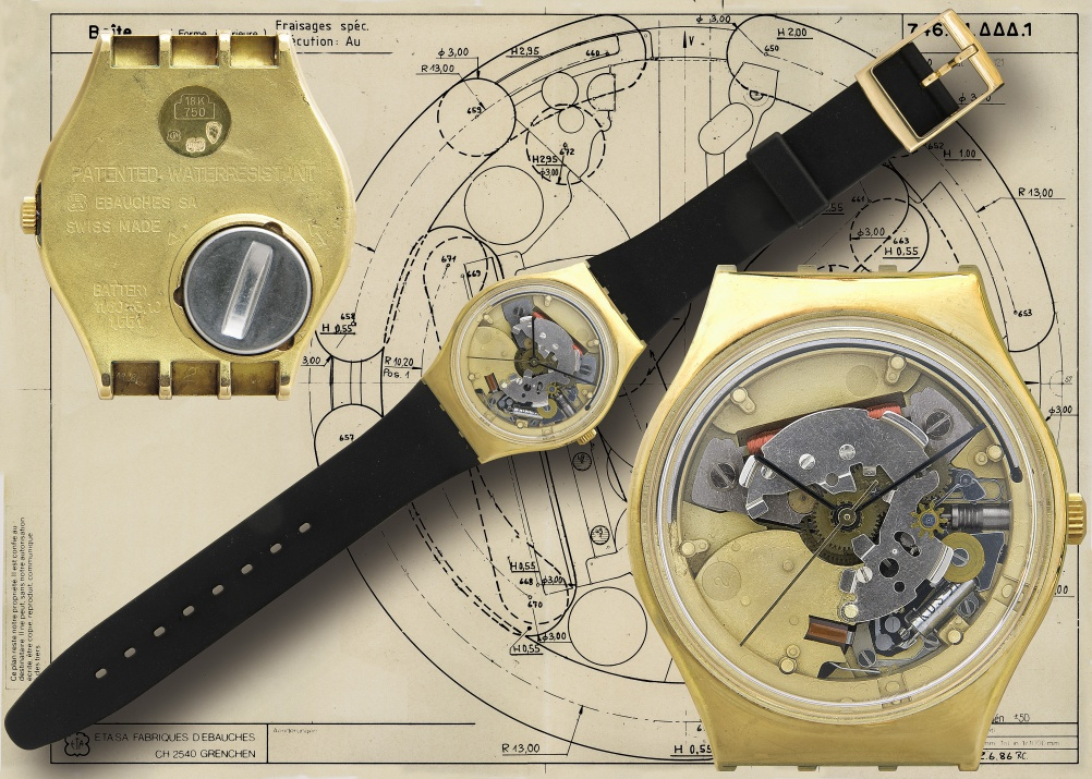 """In 1986 Swatch launched a new version of its """"Jelly Fish"""" see-through watch, featuring a gold middle case"""