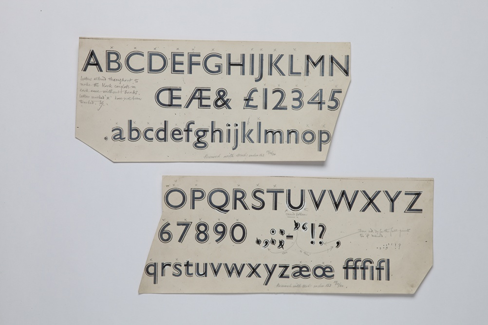 The widespread popularity of Gill Sans inspired many playful display styles, shown here with Gill's notes and alterations