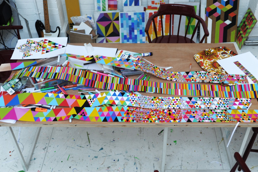 """The pattern created from Myerscough's """"colour emotion"""" Twitter project"""