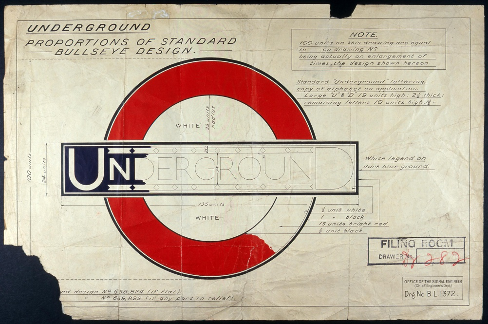 Drawing showing the standard layout of the registered design version of the Johnston Underground roundel, c1925