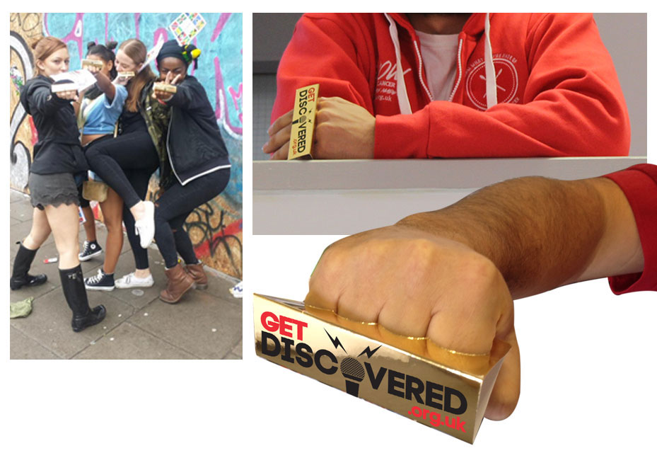 GET DISCOVERED-Bling Ring - A cardboard promotional ring to promote GET DISCOVERED urban music talent show.