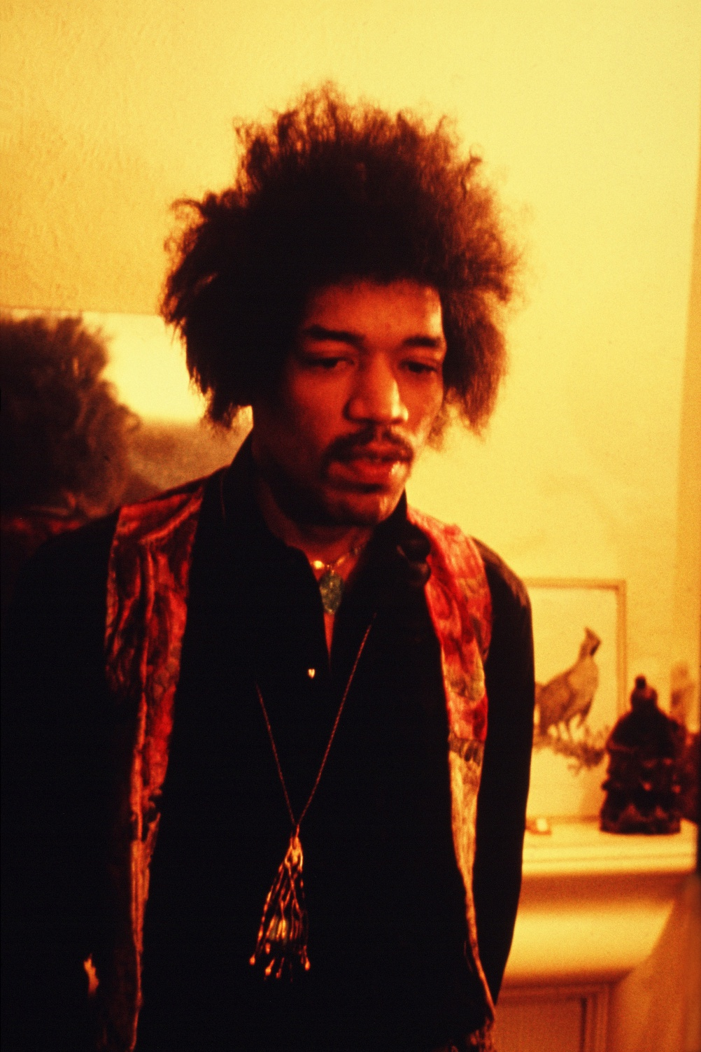 Photographic portrait by Richard Keith Wolff of Jimi Hendrix, musician, guitarist, standing in his flat, 23 Brook Street. Mayfair, London, UK, 7th of January 1969. Obligatory credit Richard Keith Wolff