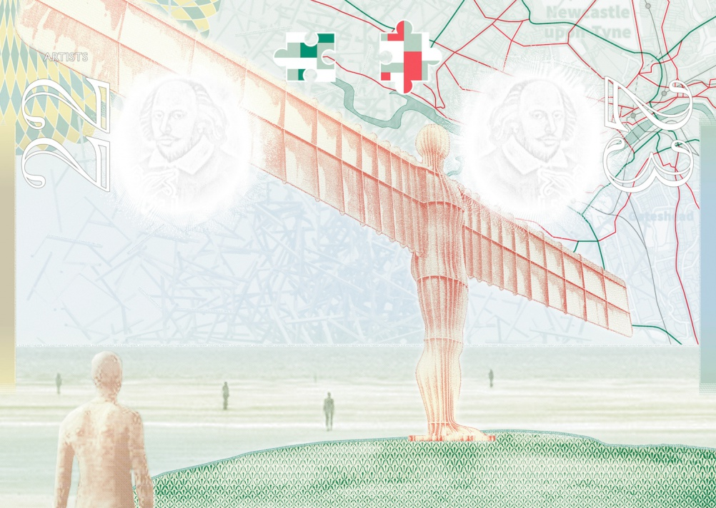 Anthony Gormley, Quantum Cloud, map of Gateshead and Angel of the North and Another Place