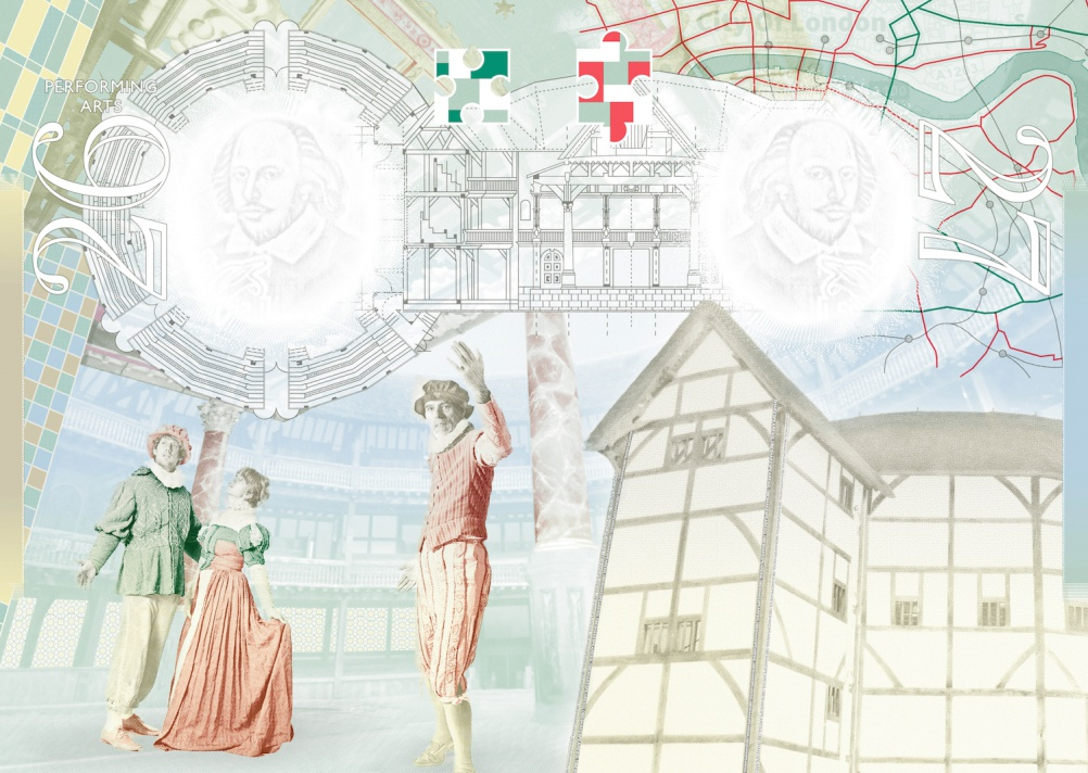 Shakespeare's Globe, it's interior, a play in progress, a map of the city of London, the theatre's exterior