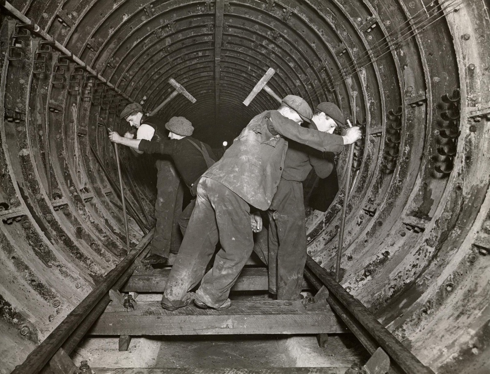 Track laying in a tube tunnel near Highgate Underground station, 1938