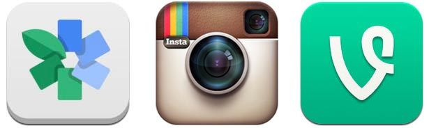 Snapseed, Instagram and Vine icons