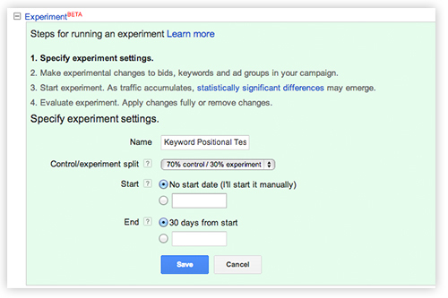AdWords Campaign Experiment Interface