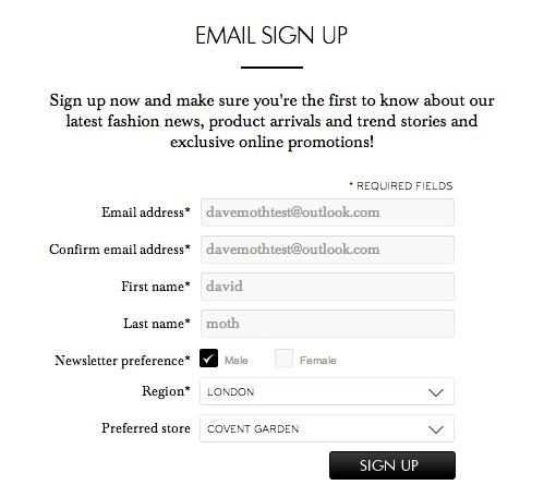 Email sign up forms: a look at how 16 fashion retailers collect ...