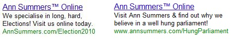 Ann Summers paid search