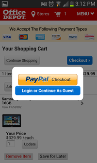 paypal on mobile site