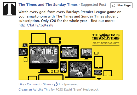 Times facebook ad