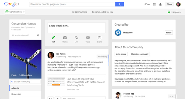 Conversion Heroes Google+ community
