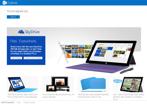 Outlook logout page  – full screen SkyDrive and Surface promotion