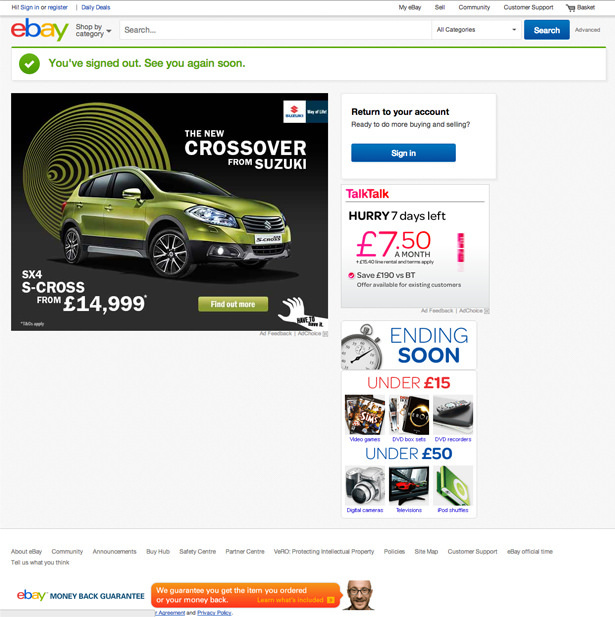eBay UK's logout page with third party advertisements for Suzuki and TalkTalk