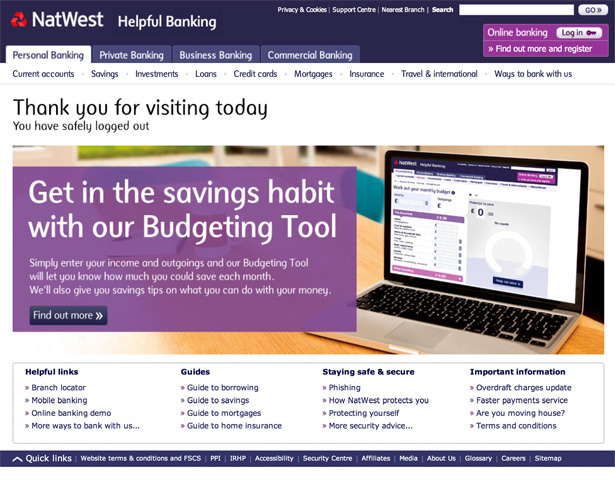 NatWest – vibrant, full page width engagement feature for their personal finance tool