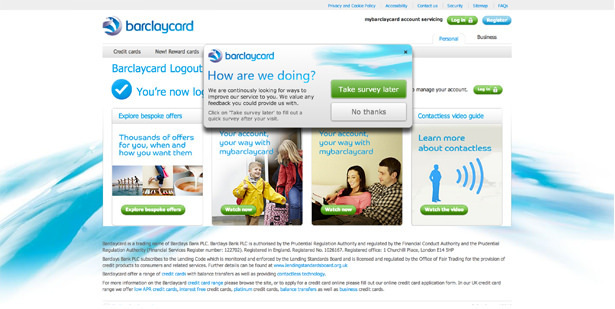 Barclaycard – Survey pop-up shown on the logout confirmation page instead