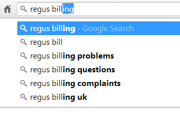 regus billing problems autocomplete on google search