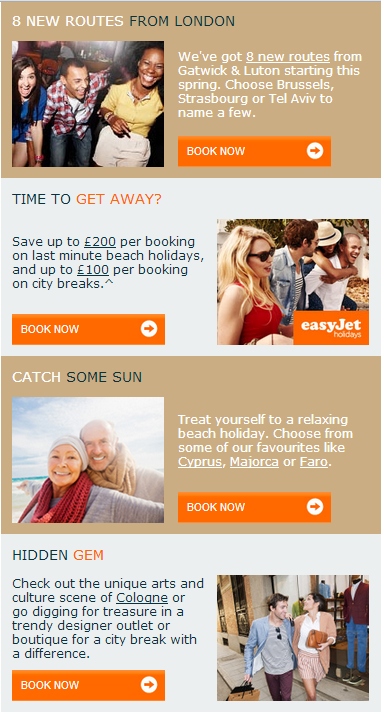 different personas represented in easyjet email