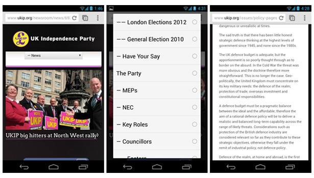 UKIP mobile view