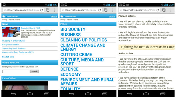 Conservatives mobile view