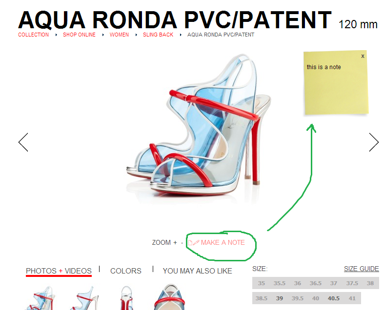leave a note product page Christian Louboutin