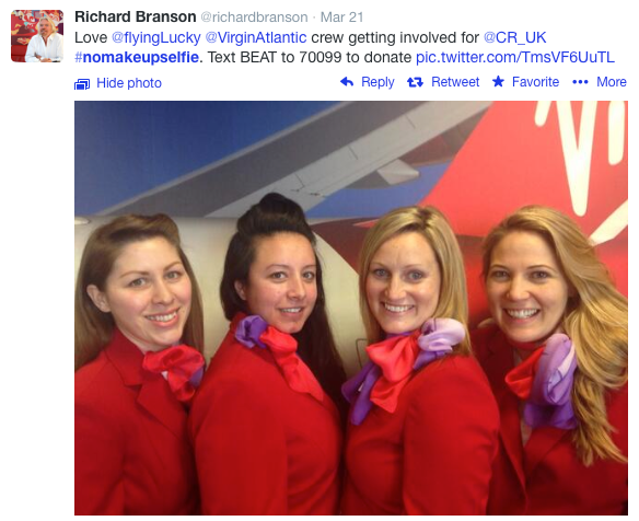 Virgin Atlantic Supports No Make Up Selfie for Cancer Awareness
