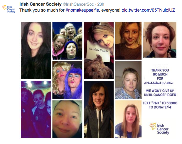 Irish Cancer Society tweet