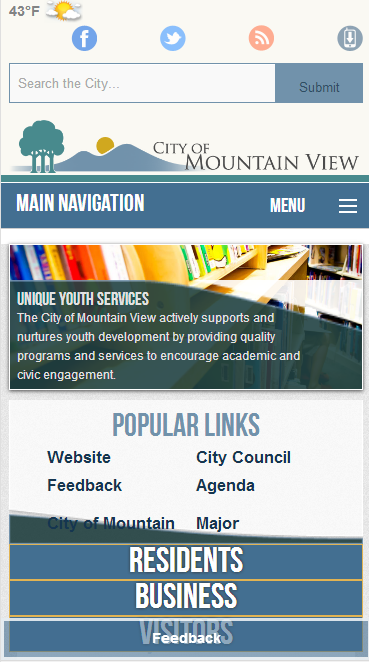 city of mountain view on mobile