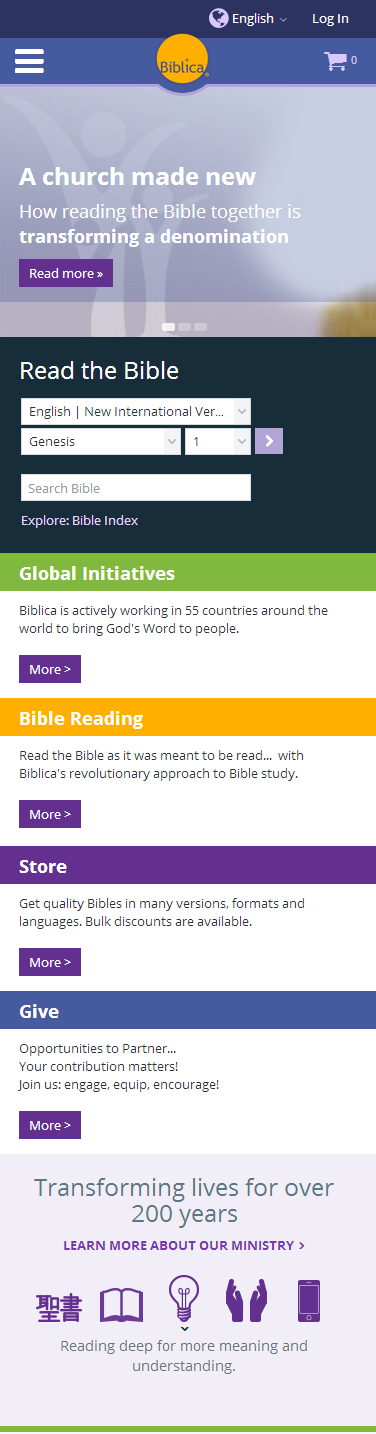 biblica website on mobile