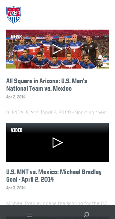 us soccer website on mobile
