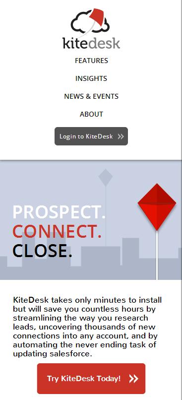 kitedesk website on mobile