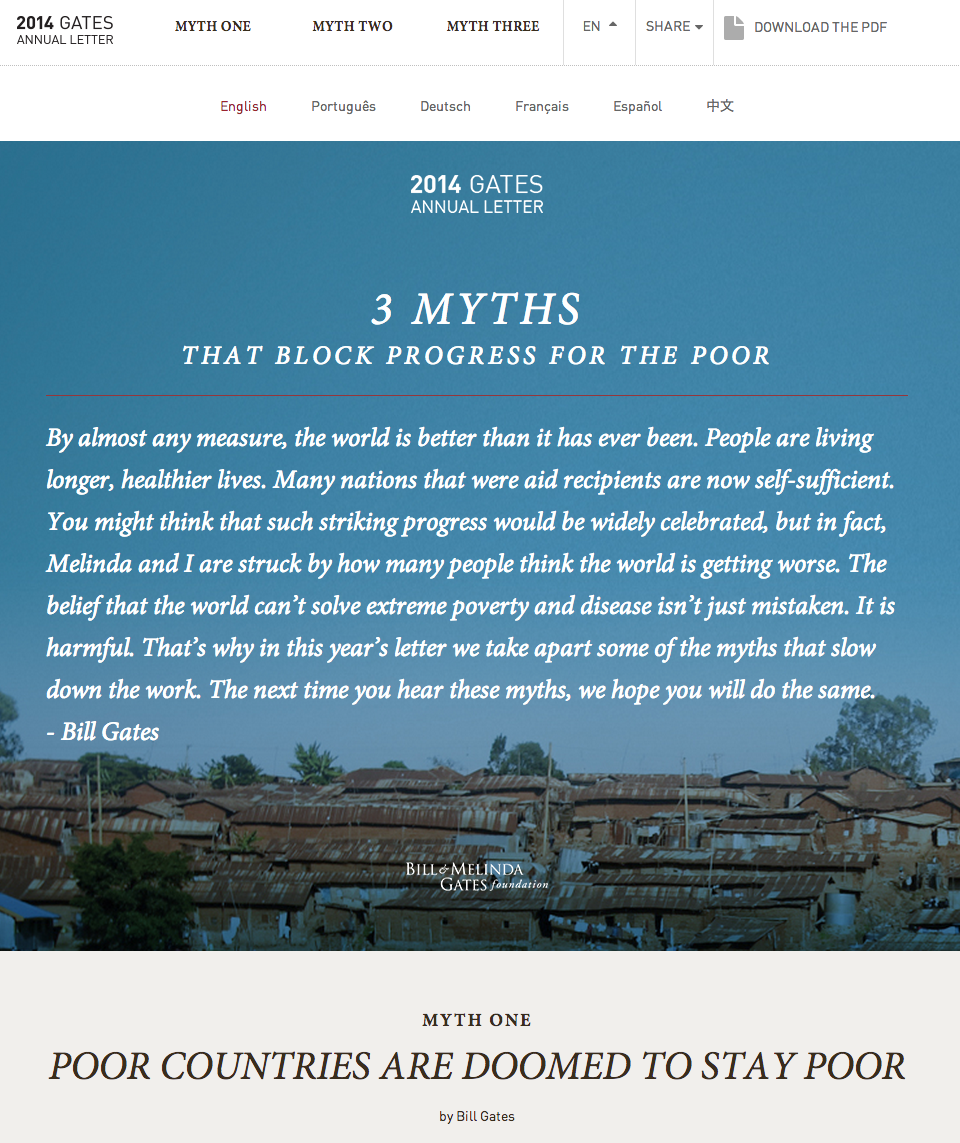 How the bill melinda gates foundations interactive 2014 letter instead of discussing the foundation specifically bill and melinda gates chose to write about the three myths that keep the world from accelerating success expocarfo