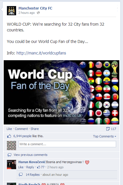 mcfc world cup 'fan of the day'