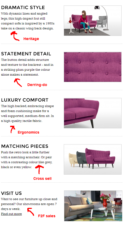 sofa product description