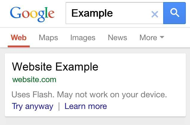 Google warning users website not mobile friendly