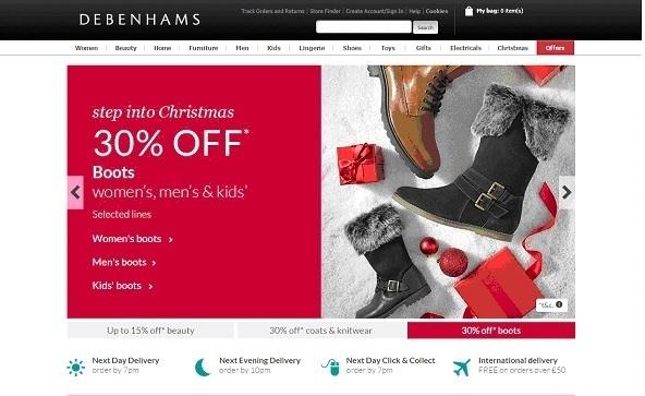 The Debenhams colourful festive homepage