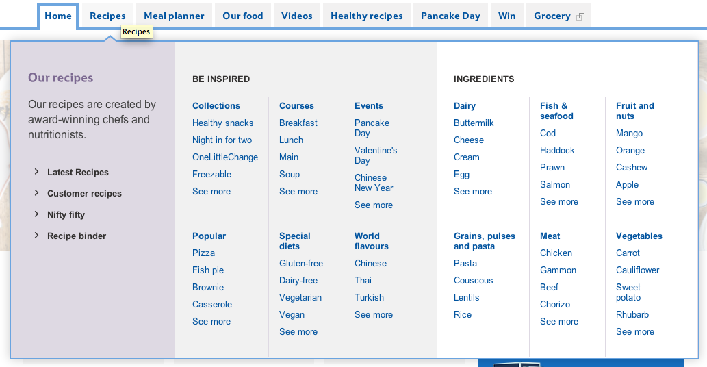 How do waitrose and tesco use on site content marketing econsultancy each of the recipe pages has an image of the food ingredients nutritional information and star rating which is all fairly standard stuff forumfinder Images