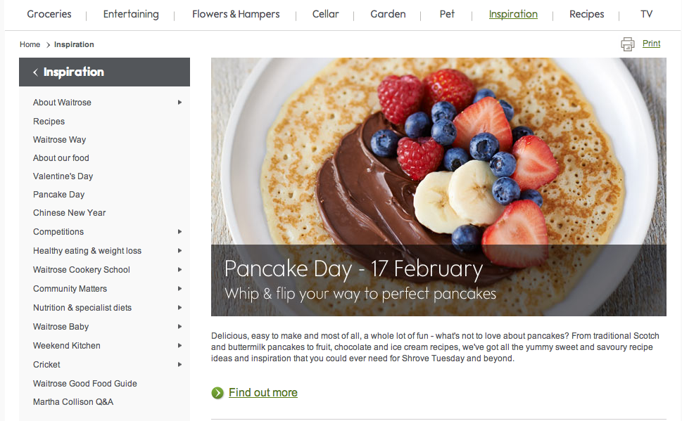 How do waitrose and tesco use on site content marketing econsultancy inspirationrecipes forumfinder Image collections
