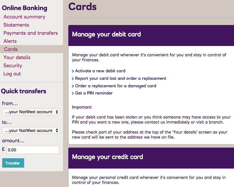 How natwest provides multichannel customer experiences econsultancy this opens a pop out window which requires you to fill out just two fields and even if you dont have your card to hand you can see the card number in reheart Choice Image