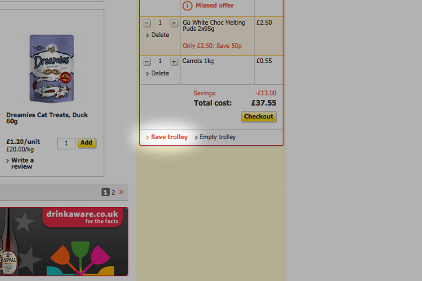Supermarket website save trolley feature
