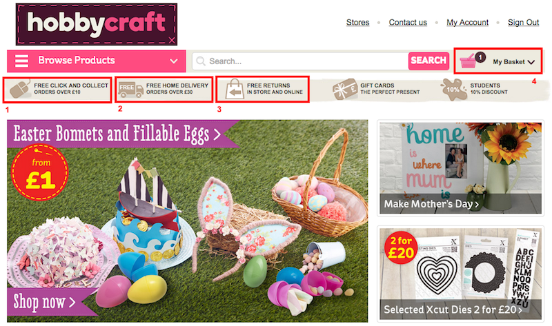 35 examples of ecommerce best practice from hobbycraft for Craft and hobby supplies