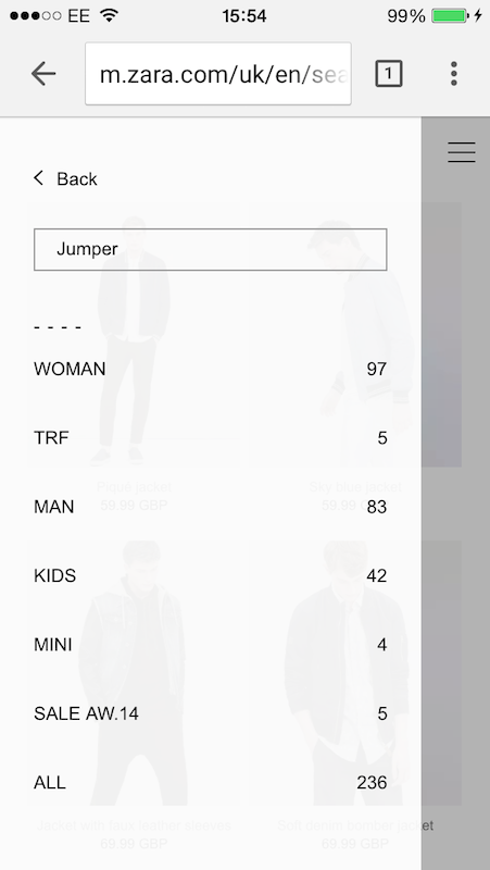 How effective is Zara's unique on-site search tool? – Econsultancy