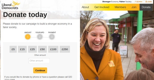 Lib Dem donate page
